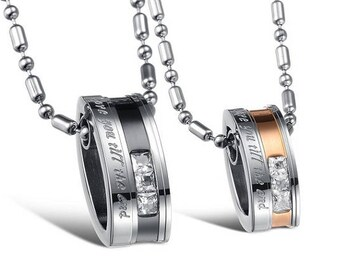 Loving You Until The End - Girlfriend and Boyfriend Necklaces / Couples Necklaces / Matching Jewelry for Couples