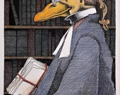 Simon Drew print Old Lawyer signed mounted art for framing BNIB Humorous barrister solicitor judge divorce husband wife lawyer legal Gift