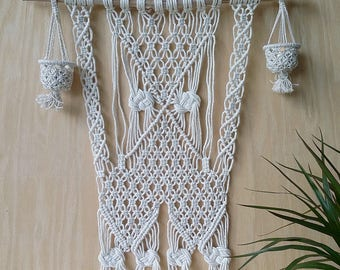 Macrame wall hanging with LED candles Large macrame Bohemian macrame Driftwood wall hanger with macrame pattern New modern macrame home gift