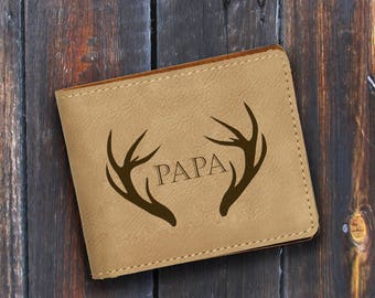 Papa-Engraved Bifold Wallet-Personalized Hunting-Full Size Art Work-Light Brown-Antlers 1