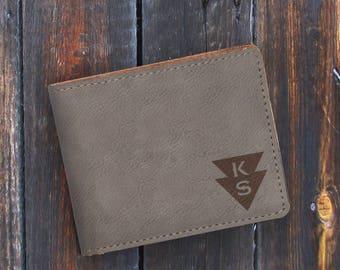 Monogram-Personalized-Leatherette Wallet-Engraved Bifold Wallet-Gray Wallet-Grey