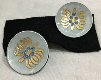 Vintage Round Lite blue w Gold Custom jewelry Clip on Earrings Ultra Modern Design