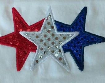Patriotic Stars, Fits the 5x7 hoop