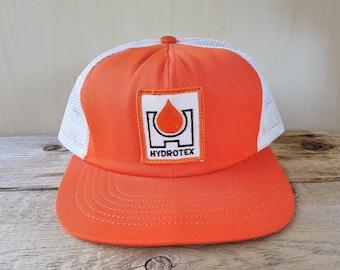 Vintage HYDROTEX Orange Swingster Trucker Hat Performance Lubricants Snapback Mesh Baseball Cap Throwback Adjustable Ballcap Made in USA