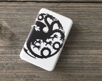 Targaryen Steel Fliptop Windproof Lighter, Customize Print Available