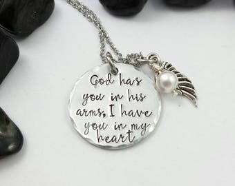 God has you in his arms, I have you in my heart necklace, bereavement necklace, sympathy necklace, angel wing necklace, God Necklace, loss