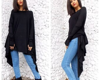 SALE 15% OFF Black Top / Black Asymmetric Dress / Oversize Black Asymmetric Tunic Top / Long Sleeved Tunic / Loose Tunic TT12