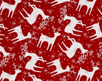 Alpine by Pink Chandelier for Wilmington Prints - Reindeer Toss in Red | Pre-Order Fabric | Quilting, Sewing