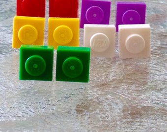 Custom Lego square brick stud earrings