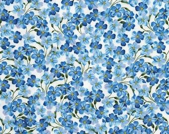 1/2 Yard Timeless Treasures Butterfly Grotto  Forget Me Nots C5689