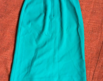 80's Vintage Turquoise A line Midi Skirt.