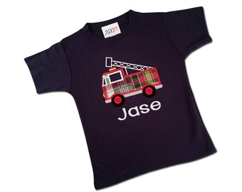 Boy's Fire Truck Shirt with Embroidered Name - M39