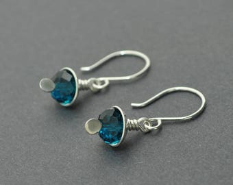 Glass Bead Earrings, Dangle Earrings, Blue earrings, Sterling Silver Earrings