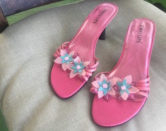 Hot Pink Floral sandals by Two Lips size 9