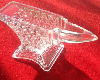 Vintage Pressed glass/crystal? anvil shaped toothpick holder