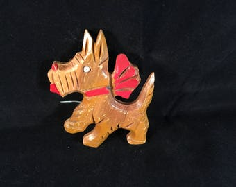 Vintage wood Scottie dog with red ribbon pin