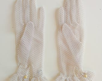 50s white tulle gloves with polka dots and ruffles