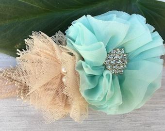 Yorkie wedding Collar, Maltese Dog Wedding attire, small Dog collar, mint Wedding collar dog, champagne lace dog collar, flower collar