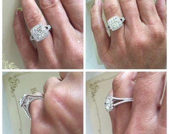 Moissanite Engagement Ring 1.90ct Round Forever One Colorless Ring 1.68ct Natural Diamonds Halo Split Shank Ring Pristine Custom Rings