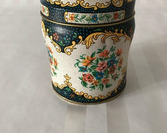 Vintage Round Floral Decorative Tin by Daher Tin Box Company