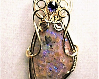 Louisiana Opal (Extremely Rare) Handmade Wire-Wrapped Pendant with Iolite - Amazing FIre!!!