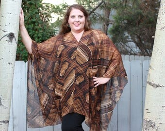 Black and Brown Shawl Top - Silk