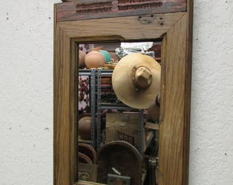 Antique Old Door Carved Rustic Mirror-Mexican-13x23 in-Wood-Wall-Primitive-Vintage-Reclaimed-RePurposed