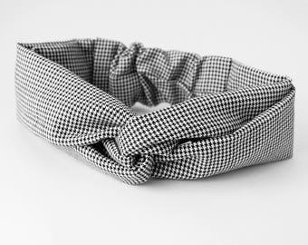Pied de Poule Headband Twisted Head Wrap in Black White Checkered Twisted Turban with Elastic Boho Headband Bandeau