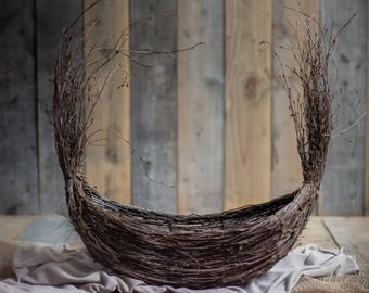 TWIG BOAT - basket, newborn nest, large newborn nest, newborn prop, photography prop, photo prop, newborn prop