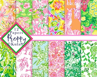 Instant Download - Lilly style preppy floral Digital Paper Seamless Repeat Patterns, preppy papers, preppy patterns, preppy designs