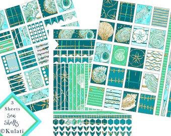 INSTANT DOWNLOAD - preppy printable seashell planner stickers - EC Planner printable, glitter seashell planner stickers, printable stickers