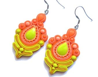 Yellow Earrings, Neon Orange Earrings, Peach Earrings, Neon Earrings, Big Earrings, Huge Earrings, Statement Earrings, Polymer Clay Earrings