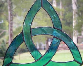 Trinity Celtic Knot in Stained Glass, Green Aqua Glass, Suncatcher, handmade in Australia