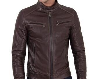 Men's leather biker jacket dark brown, genuine soft lamb leather