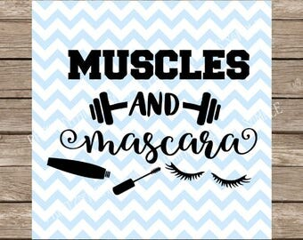 Muscles and Mascara SVG, svg files for Cricut, Fitness svg, Gym svg, Workout Tank, svg files, Makeup SVG, Workout svg file cricut silhouette