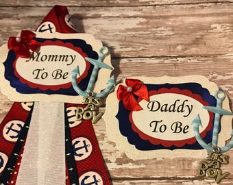 Nautical Mommy To Be & Daddy To Be Corsage Nautical Theme Baby Shower Corsage Badge