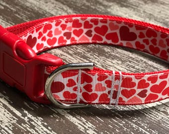 VALENTINE'S DAY Adjustable Nylon Webbing Ribbon DOG Collar Hand Made / Red Love Hearts