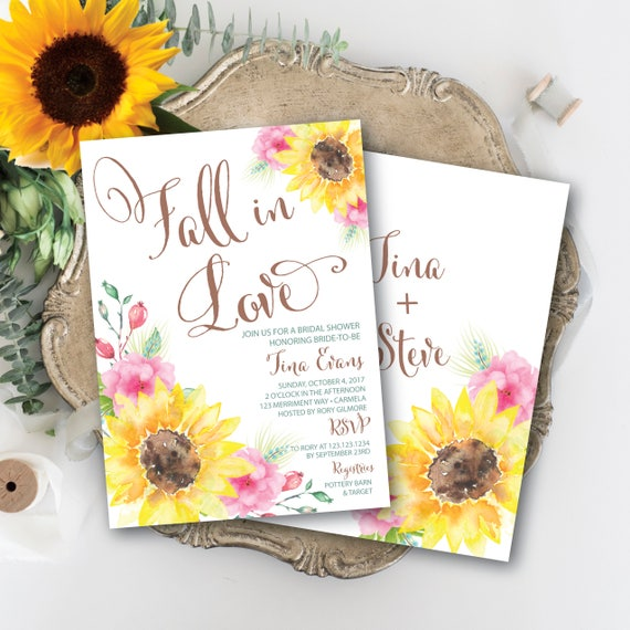 Rustic sunflower bridal shower invitation fall in love fall il570xn filmwisefo