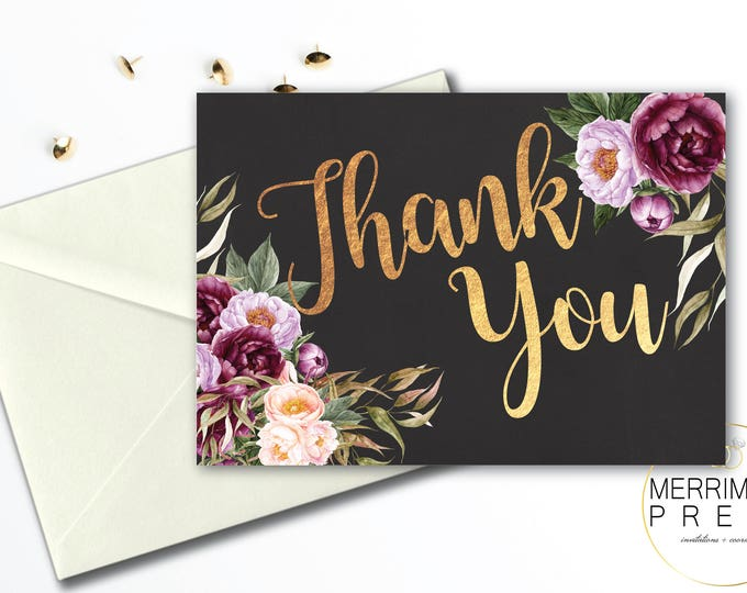 Burgundy Thank You Card // Floral Watercolor Thank You // Chalkboard // Folded // A1 // Gold // Instant Download // FLORENCE COLLECTION