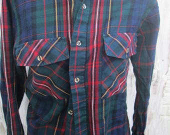 Vintage 80s flannel shirt, dark green red blue plaid EUC, smaller size Holiday colors