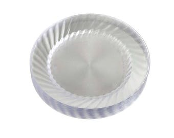 Clear Plastic Round Plates, 12-Piece