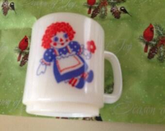 Raggedy Ann and Andy Milk Glass Mug Vintage