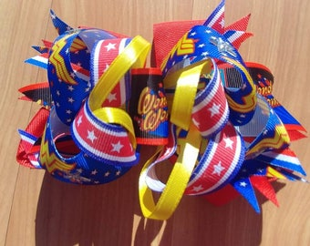 "Wonder Woman OTT stacked boutique hairbow 5.5"" X 4"", handmade bow. OOAK ready to ship"