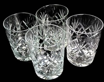 4 Crystal Glasses - Whiskey Glasses or Water Glasses - Vintage Glassware of Clear Cut Crystal Glass for Barware or Water Tumblers