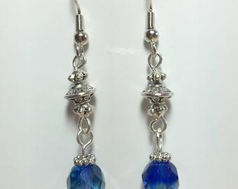 Basic Beauties Czech Glass Blue-Green Dangle Earrings