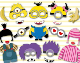 Instant Download Minions Photo Booth Props, Minions Birthday Party Photo Booth Props, Minions Party Photobooth Prop, Minions Party Prop 0156