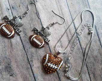 I Love Football Necklace Set Gifts for Her Gifts for Mom Team Spirit Football Jewelry Football Earrings Rhinestone Necklace Set Silver