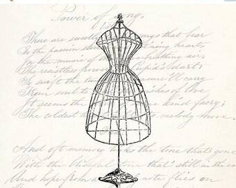 40% OFF SALE Vintage Dress Form - Digital Download Clipart - Dress Form Illustration - Antique Dress Form Mannequin Art Transfer Craft - INS