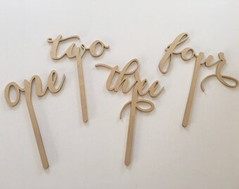 Wooden Stick table numbers in 1 - 8 set