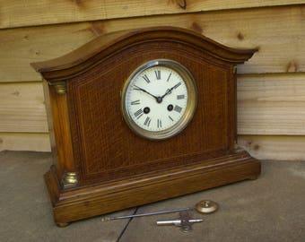 Antique Edwardian Oak Mantel Clock, French movement – c.1910